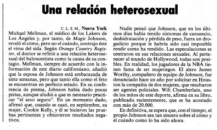 El País aclarando que Magic Johnson es heterosexual